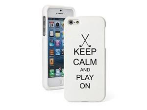 Apple iPhone 5c Snap On 2 Piece Rubber Hard Case Cover Keep Calm and Play On Golf (White)