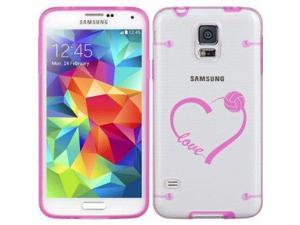 Hot Pink Samsung Galaxy Ultra Thin Transparent Clear Hard TPU Case Cover Love Heart Volleyball (Hot Pink for S3)
