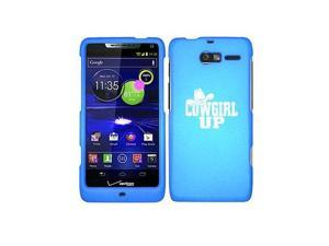 Motorola Droid Razr M XT907 Snap On 2 Piece Rubber Hard Case Cover Cowgirl Up with Hat (Light Blue)