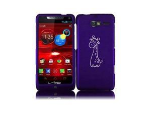 Motorola Droid Razr M XT907 Snap On 2 Piece Rubber Hard Case Cover Cute Giraffe Cartoon (Purple)