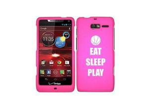 Motorola Droid Razr M XT907 Snap On 2 Piece Rubber Hard Case Cover Eat Sleep Play Basketball (Hot Pink)