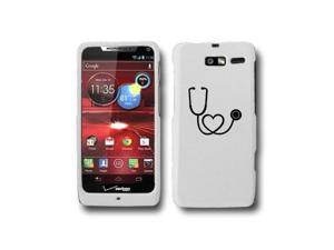 Motorola Droid Razr M XT907 Snap On 2 Piece Rubber Hard Case Cover Heart Stethoscope Nurse Doctor (White)
