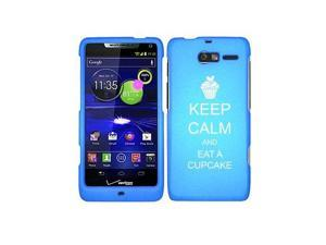 Motorola Droid Razr M XT907 Snap On 2 Piece Rubber Hard Case Cover Keep Calm and Eat A Cupcake (Light Blue)