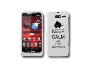 Motorola Droid Razr M XT907 Snap On 2 Piece Rubber Hard Case Cover Keep Calm and Love Elephants (White)