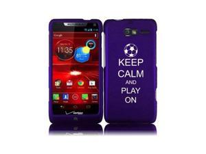 Motorola Droid Razr M XT907 Snap On 2 Piece Rubber Hard Case Cover Keep Calm and Play On Soccer (Purple)