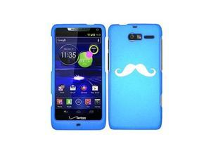 Motorola Droid Razr M XT907 Snap On 2 Piece Rubber Hard Case Cover Mustache (Light Blue)