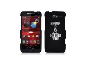 Motorola Droid Razr M XT907 Snap On 2 Piece Rubber Hard Case Cover Proud Oilfield Wife (Black)