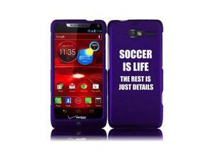 Motorola Droid Razr M XT907 Snap On 2 Piece Rubber Hard Case Cover Soccer Is Life (Purple)