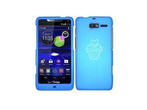 Motorola Droid Razr M XT907 Snap On 2 Piece Rubber Hard Case Cover Valentine Heart Cupcake (Light Blue)