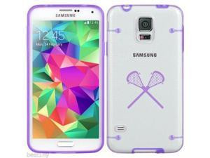 Purple Samsung Galaxy Ultra Thin Transparent Clear Hard TPU Case Cover Lacrosse Sticks (Purple for S3)