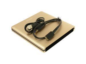 Pawtec Luxury Slim Aluminum USB 3.0 External Enclosure For Optical SATA Drive Blu-Ray DVD MAC / PC - Gold Edition