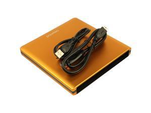 Pawtec Signature Slim Aluminum USB 3.0 External Enclosure For Optical SATA Drive Blu-Ray DVD MAC / PC - ORANGE