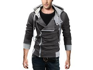 Men's Assassin Creed Oblique Zipper Hoodie Casual Top Sweatshirt Hoodie Jumper Coat Grey