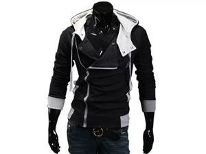 Men's Oblique Zipper Hoodie Casual Top Coat Slim Fit Jacket Black M-XXL