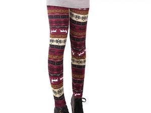 Womens Winter Warm Leggings Nordic Snowflake Reindeer Skinny Pants Trousers