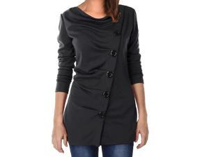 Women Cowl Neck Button Embellished Ruched Long Sleeve Blouse Tops