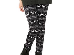 Women's Snowflakes Skinny Reindeer Fleece Lined Winter Leggings Black
