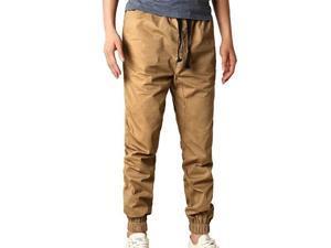 Men's Slim Fit Twill Chino Harem Jogger Pants Trousers Khaki Size S-XL