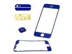 iPhone 5 Dark BLue Front Back Outer Glass Lens + Home Button + Middle Bezel Frame