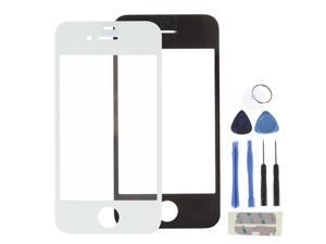 White front outer glass lens touch screen replacement part + adhesive + tools for apple iphone 4 4G 4S (LCD & Digitizer not included)