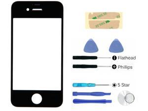 Black front outer glass lens touch screen replacement + adhesive + tools for apple iphone 4 4G 4S part (LCD & Digitizer not included)
