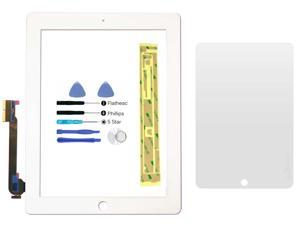 White Digitizer Glass Lens Screen Replacement for iPad 3 & iPad 4 + Adhesive + Tools + Screen Protector (No LCD)