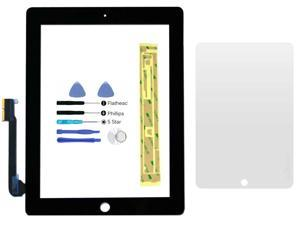Black Digitizer Glass Lens Screen Replacement for iPad 3 & iPad 4 + Adhesive + Tools + Screen Protector (No LCD)