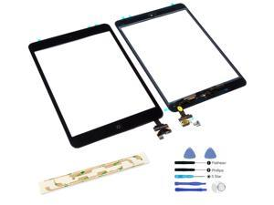 iPad Mini 1 & 2 Black Front Digitizer Glass Lens Screen Full Front Assembly (with Home Button Flex Cable, Camera Holder + IC Chip) + Adhesive + Tools