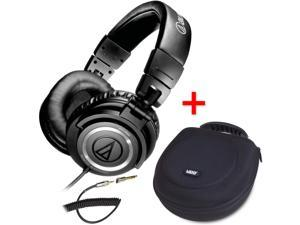 Audio-Technica ATH-M50 Studio Monitor Headphones w/ Coiled Cable & UDG U8200BL Large Headphone Hardcase Black - Bundle