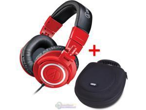 Audio-Technica ATH-M50 Studio Monitor Headphones Red & UDG U8200BL Large Headphone Hardcase Black - Bundle