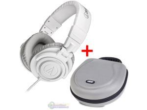 Audio-Technica ATH-M50 Studio Monitor Headphones White & UDG U8200SL Large Headphone Hardcase Silver - Bundle