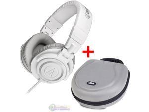 Audio-Technica ATH-M50 Studio Monitor Headphones White & UDG U8200SL Large Headphone Hardcase Silver - Bundle