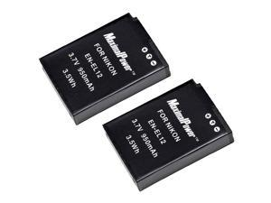 Maximal Power DB DB NIK ENEL12 X2 2PCS Maximalpower Replacement Battery for Nikon EN-EL12, Coolpix S9100,S8100,S6100,S6000,S8000,S8200,S70,S630,S610,S640,S710 (Black)