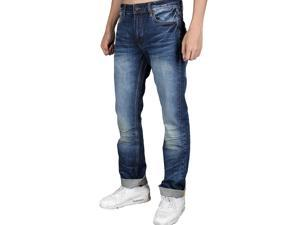 Men's Fashion Relaxed Boot cut Style Whisker Denim Jeans Indigo Blue 100% Cotton High Quality Regular Middle Waist and Designer Stylish Vintage Zipper Fly Size 29 30 32 34