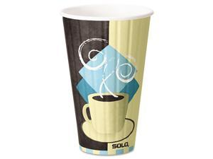 Solo Cup - IC16-J7534 - Duo Shield Insulated Paper Hot Cups, 16 oz, Tuscan Chocolate/Blue/Beige, 525/Ct