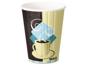 Solo Cup - IC12-J7534 - Duo Shield Insulated Paper Hot Cups, 12oz, Tuscan, Chocolate/Blue/Beige, 600/Ct