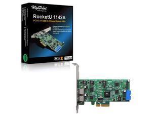HighPoint Technologies - ROCKETU1142A - HighPoint RocketU 1142A USB 3.0 HBA - PCI Express 2.0 x4 - Plug-in Card - 3 USB