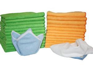 Atlas Microfiber Cleaning Cloth -36-Pack (18 Green and 18 Orange) with 2 FREE Soft N Shiney Microfiber Cloths