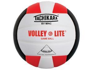Tachikara SV-MNC Volley-Lite volleyball with Sensi-Tech cover, regulation size but lighter (scarlet/white/black)