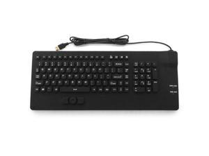 Industrial Silicon Waterproof USB Keyboard with Integrated Mouse Button with IP68 Protection - IKB108