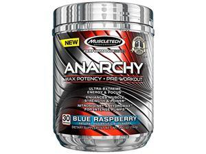MuscleTech Anarchy Pre-Workout Blue Raspberry Powder, 30 Servings