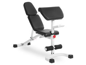 XMark FID Flat Incline Decline Weight Bench with Preacher Curl XM-4417-WHITE