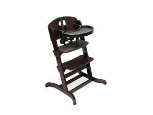 Badger Basket Evolve Convertible Wood High Chair with Tray and Cushion, Espresso
