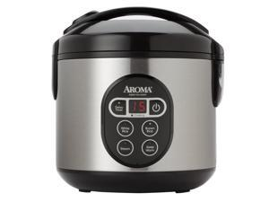 Aroma 8 Cup Cooked Black & Stainless Cool Touch Digital Rice Cooker & Food Steamer - ARC-914SBD