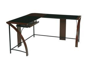 Office Star EMT25 Emette Home Office Corner Desk With L-Shape Workstation Design & Glass Top