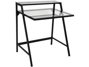 LumiSource OFD-TM-2TIER-CL 2-Tier Desk - Black/Clear
