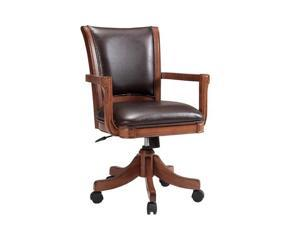 Model# 4186-800 &#59; Brand: Hillsdale &#59; Medium brown oak finish &#59; Deep brown leather seat cushions &#59; Castered arm chair &#59; Adjustable height &#59; Product UPC: 796995938694