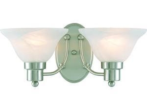 "Model #  544478 * Brand: Hardware House * 2-light wall/bath light fixture * With alabaster glass * Projection: 8-1/4"" * Uses (2) 60 watt bulbs ( not included ) * Product UPC: 802062544474"