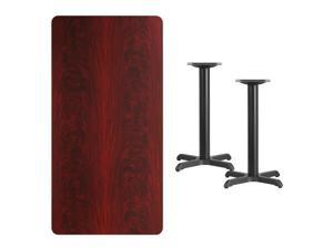 Flash Furniture XU-MAHTB-3060-T2222-GG 30'' x 60'' Rectangular Mahogany Laminate Table Top with 22'' x 22'' Table Height Bases