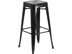Flash Furniture CH-31320-30-BK-GG 30'' Backless Black Metal Bar Stool